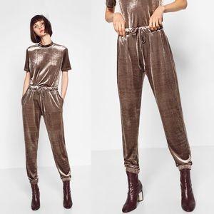 Zara Trafaluc💕Dusty Lilac Velvet Joggers Pants 26
